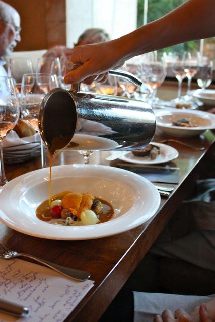 """""""Pacific Bourride"""" sable fish, monterey squid, mendocino uni, saffron, bouillabaisse"""